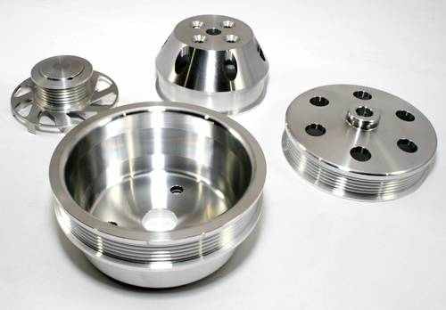 Assault Racing Products A8700-M Small Block Chevy Machined Serpentine Billet Aluminum Pulley Kit Short Water Pump SBC