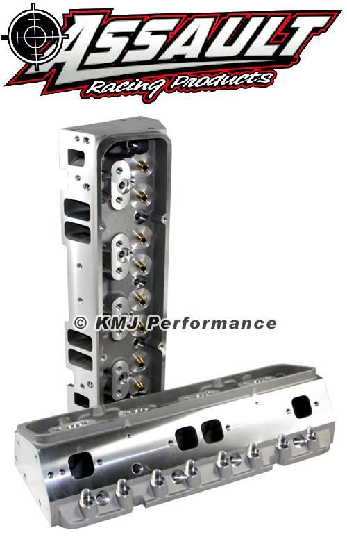 Assault Racing Products SBC20064A SBC Chevy 205cc Bare Aluminum Cylinder Heads Angle Plug 64cc Small Block 350 400