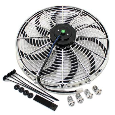 "Assault Racing Products - 16"" Chrome S-Blade Electric Radiator Universal Cooling Fan w/ Mounting Kit"