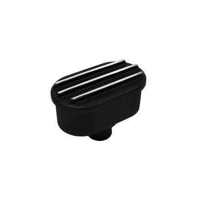 Assault Racing Products - Retro Finned Black Aluminum Valve Cover Breather Push In with Raised Fins