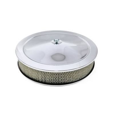 "Assault Racing Products - 14"" Round Chrome Air Cleaner Assembly - Recessed Dropped Base w/ 3"" Paper Filter"