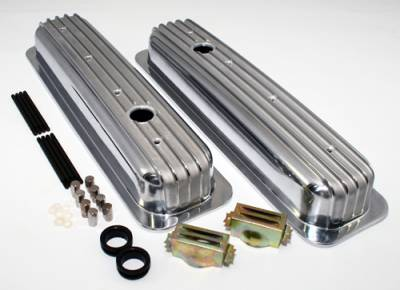 Assault Racing Products - Small Block 350 Retro Vortec TBI Chevy Finned Aluminum Short Style Valve Covers