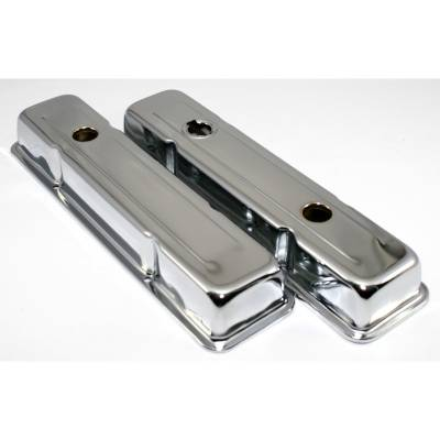 Assault Racing Products - SBC Chevy 350 Chrome Short Steel Valve Covers w/ Oil Cap Hole 283 305 327 400