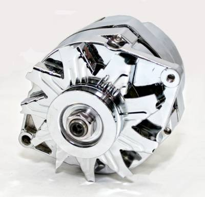 KMJ Performance Parts - GM Style Chrome 1 One or 3 Three Wire SBC BBC Chevy Pontiac Alternator 120 Amp