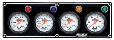 Quick Car - QuickCar 61-6721 Black Face 4 gauge Panel Oil Pressure, Water Temp, Oil Temp, FP