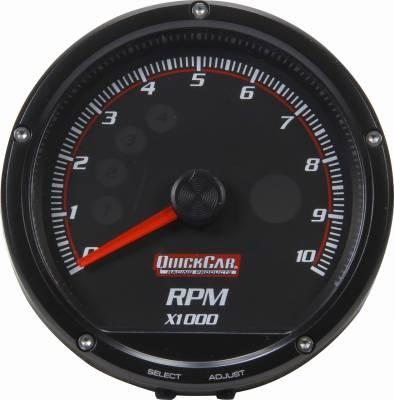 Quick Car - QuickCar 63-002 Redline Multi Recall Tachometer 0-10,000 RPM LED Lit Black Face