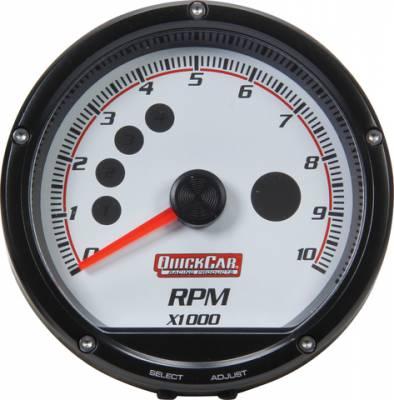 Quick Car - QuickCar 63-001 Redline Multi Recall Tachometer 0-10,000 RPM LED Lit White Face