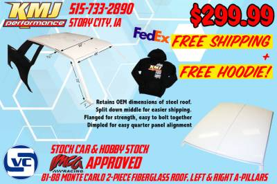 KMJ Performance Parts - IMCA Approved 81-88 Monte Carlo Fiberglass Roof and Pillars