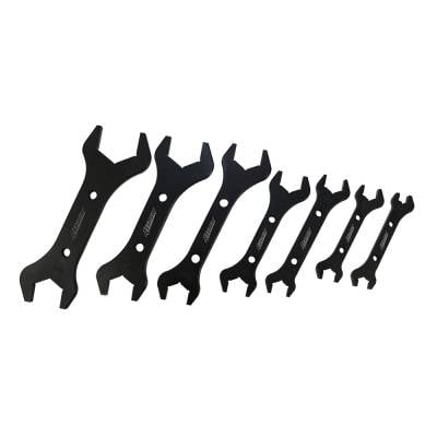 Assault Racing Products - CNC Machined Aluminum Black 7 Double End -AN Wrench Set 3AN - 20AN Hose Fitting
