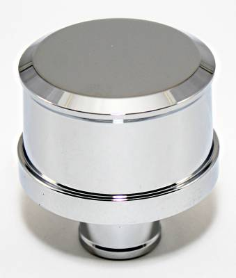 Assault Racing Products - Smooth Top Chrome Aluminum Push In Valve Cover Breather - Washable Filter