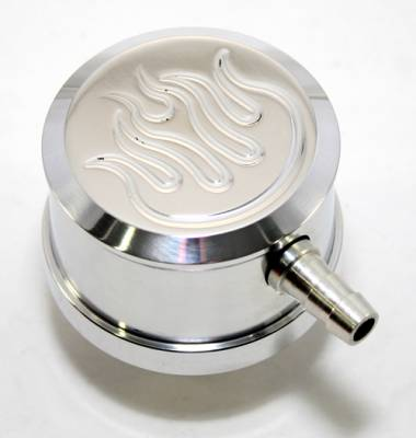 Assault Racing Products - Polished Flame Etched Breather W/ PCV Valve Chevy Ford Mopar Billet Aluminum