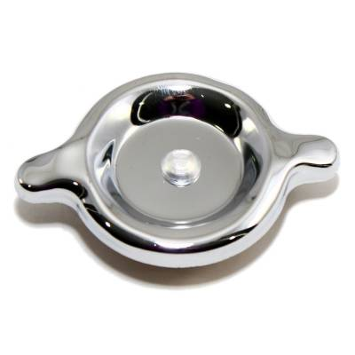 "Assault Racing Products - Universal Chrome Steel 3"" Two Tab Twist In Valve Cover Oil Filler Cap Plain Face"