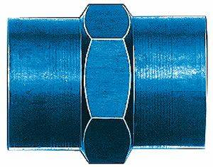 """Aluminum AN Fittings - Female Pipe Tee Fittings - Aeroquip Performance Products - Aeroquip FCM2129 Female Pipe Coupling 1/8"""" Pipe Thread Blue Anodized Aluminium"""