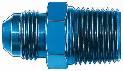 "Aluminum AN Fittings - Male Connector AN to Pipe Fittings - Aeroquip Performance Products - Aeroquip FCM2002 Male -4 AN Hose To 1/4"" Pipe Thread Blue Anodized Aluminum"