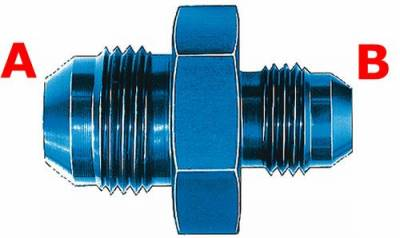 Aluminum AN Fittings - Male Flare Reducer Fittings - Aeroquip Performance Products - Aeroquip FCM2167 Union Reducer Fitting -12 AN to -10 AN Blue Anodized Aluminum