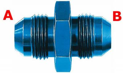 Aluminum AN Fittings - Male Flare Reducer Fittings - Aeroquip Performance Products - Aeroquip FCM2051 Straight Male Union Fitting -4 AN (Both Ends) Blue Anodized Aluminium