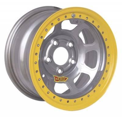 "Circle Track - 15 x 8 - Aero Race Wheels - Aero Wheels 53-085030 Silver Beadlock 15"" x 8"" -5 x 5"" Pattern 3"" Back Spacing"
