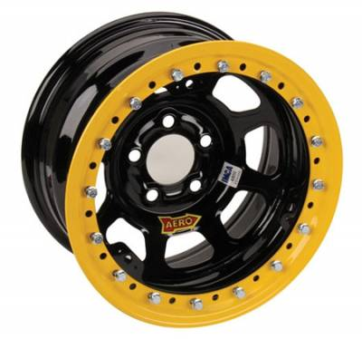 "Circle Track - 15 x 8 - Aero Race Wheels - Aero Race Wheels 53-184730 15"" x 8"" / 5 on 4-3/4 / 3 Off - Black Powdercoat Roll-Formed Beadlock Wheels - #53-184730"