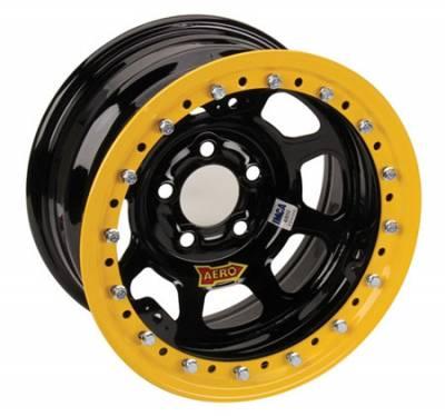 "Circle Track - 15 x 8 - Aero Race Wheels - Aero Race Wheels 53-184740  15"" x 8"" / 5 on 4-3/4 / 4 Off - Black Powdercoat Roll-Formed Beadlock Wheels - #53-184740"