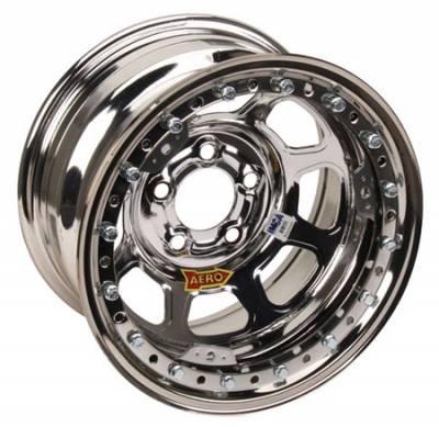 "Circle Track - 15 x 8 - Aero Race Wheels - Aero Wheels 53-285030 Chrome Beadlock 15"" x 8"" -5 x 5"" Pattern 3"" Back Spacing"