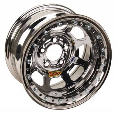 "Circle Track - 15 x 8 - Aero Race Wheels - Aero Wheels 53-285040 Chrome Beadlock 15"" x 8"" -5 x 5"" Pattern 4"" Back Spacing"