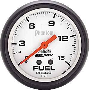 "Auto Meter Products Inc. - Auto Meter 5813 Phantom 2-5/8"" Fuel Pressure Gauge 0-15 PSI"