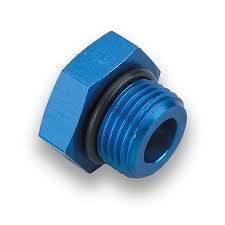 """Aluminum AN Fittings - O-Ring AN Plug - Fragola - -3 AN Port Plug-3/8""""x24 Thread-Blue-O-Ring Included"""