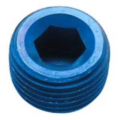 "Aluminum AN Fittings - NPT Pipe Plug - Fragola - Blue 3/8"" NPT Pipe Plug"
