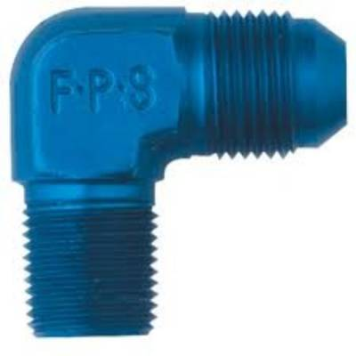 "Aluminum AN Fittings - 90 Degree Male Elbow AN to Pipe Fittings - Fragola - Blue 90 Degree-8 AN to 3/8"" Pipe Adapter"