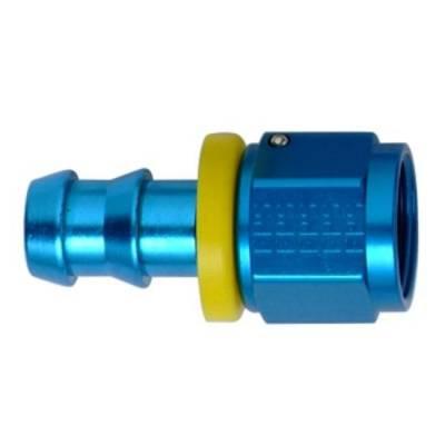 Push Lock Fittings - Straight Barb Fittings - Fragola - -8 Blue Aluminum Push-On Straight Fitting