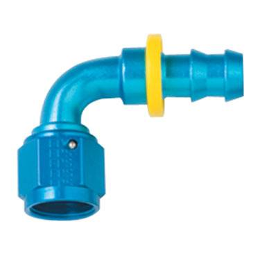 Push Lock Fittings - 90 Degree Barb Fittings - Fragola - -16 Blue Aluminum Push-On 90 Degree Fitting