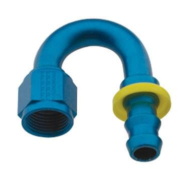 Push Lock Fittings - 180 Degree Barb Fittings - Fragola - -8 Blue Aluminum Push-On 180 Degree Fitting