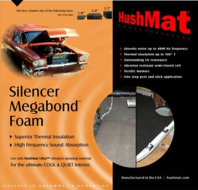 "Hushmat - HushMat Silencer Megabond - 1/4""-Absorbs higher frequency; airborne noises  Contains two (2) 23""x36"" sheets 1/4"" (8mm) thick foam insulation (11.5 sq."