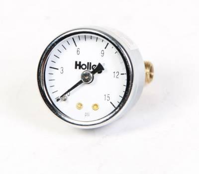 "Fuel System & Components - Fuel Pressure Gauges - Holley - Holley Fuel Pressure Gauge- 0-15  Pounds-1.5"" Diameter"