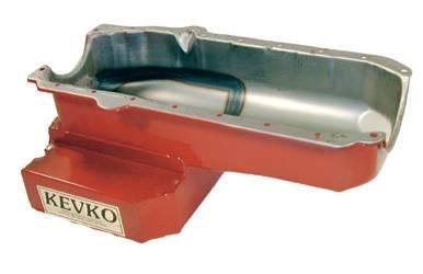 Kevko - Kevko SBC 8 Qt Stock Car Oil Pan w/ RH Dipstick-1 Piece Rear Main Seal