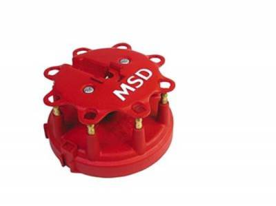 Distributors & Components - Distributor Cap & Rotor - MSD - MSD 8408 Distributor Cap Male HEI - Style Red Clamp Down Pro Billet Ford HEI