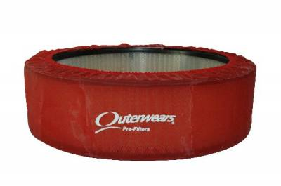 """Air Filters & Cold Air Intakes - Pre Filters - Outerwears Co Inc - 14""""x 5"""" Red Outerwears Pre-Filter"""