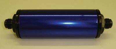 """Fuel System & Components - Fuel Filters - Precision Racing Components - PRC Inline Aluminum Fuel Filter 6"""" x 2"""" Blue -8AN"""