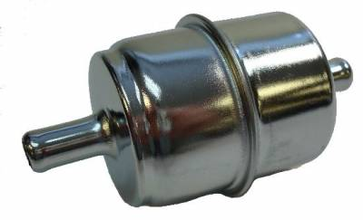 "Precision Racing Components - 3/8"" chrome inline fuel filter-Not for use with alcohol or fuel injected systems."