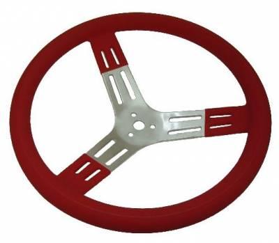 "Steering - Steering Wheels, Quick Releases & Hubs - Precision Racing Components - 15"" Red Aluminum Steering Wheel"