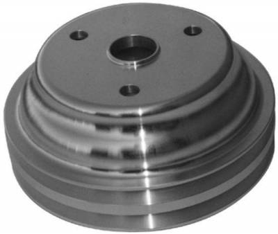 "Cooling - Pulleys, Belts & Kits - Precision Racing Components - SBC Aluminum Lower Pulley for Long Water Pump - 6.60"" Diameter / 2.30"" Bolt Circle"