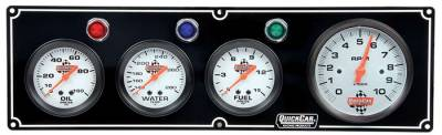 Quick Car - QuickCar 61-6742 Silver Face Gauge Panel Fuel / Oil Pressure Water Temp W/ Tach