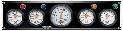 Gauges & Accessories - Gauge Panels - Quick Car - QuickCar 61-67513 Black Gauge Panel Oil Pres Water Temp Oil Tmp Fuel Pres w/Tach