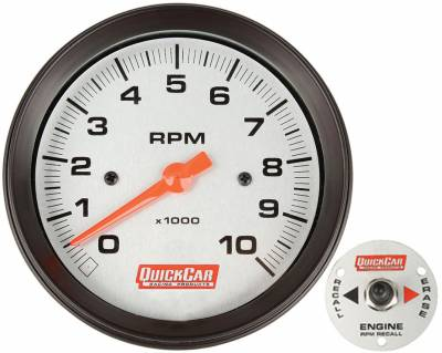 """Quick Car - 3 3/8"""" Tachometer w/ Remoter Recall-Silver Face"""