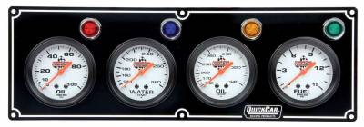 Gauges & Accessories - Gauge Panels - Quick Car - QuickCar 61-6721 Black Face 4 gauge Panel Oil Pressure, Water Temp, Oil Temp, FP