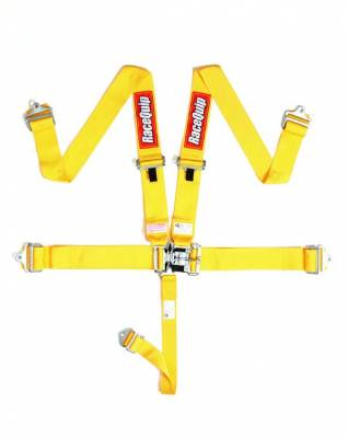 Safety & Seats - Seat Belts, Safety Harnesses, Window Nets & Components - Racequip - Racequip Yellow 5 Point 16.1 SFI Latch & Link Belt Set
