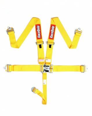 Racequip Yellow 5 Point 16.1 SFI Latch & Link Belt Set