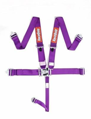 Safety & Seats - Seat Belts, Safety Harnesses, Window Nets & Components - Racequip - Racequip Purple 5 Point 16.1 SFI Latch & Link Belt Set