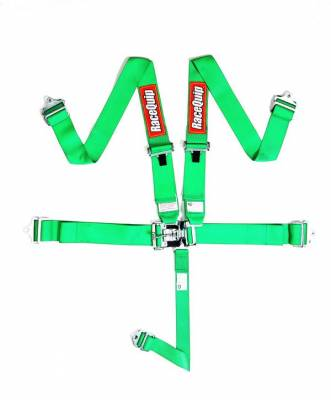 Safety & Seats - Seat Belts, Safety Harnesses, Window Nets & Components - Racequip - Racequip Green 5 Point 16.1 SFI Latch & Link Belt Set
