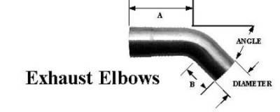 "Schoenfeld - 3.5"" Diam 90 degree exhaust elbow  5 1/4"" A Length- 2 3/4"" B Length"